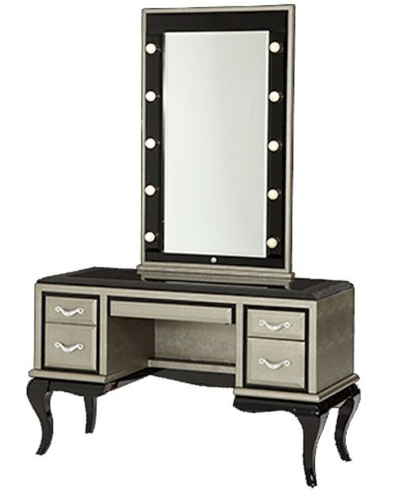 black vanity desk with mirror.  AICO After Eight Vanity Desk Mirror In Titanium AI 19000VM2 16