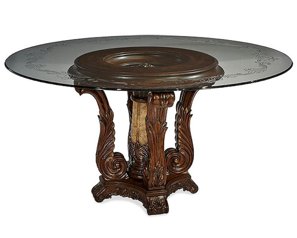 Aico victoria palace round glass top dining table ai 61001 29 for Best quality dining tables