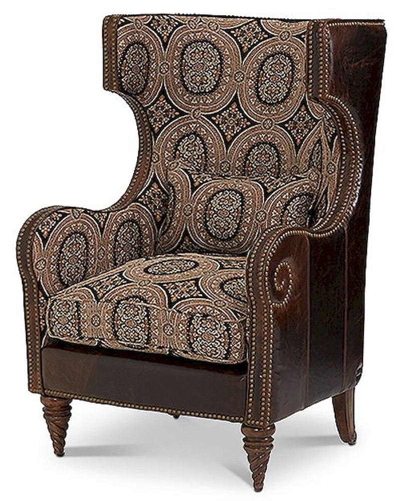 Aico victoria palace wing chair brown ai 61936 multi 29 for Aico trevi leather armless chaise in brown