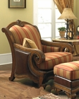 AICO Wood Trim Leather / Fabric Chair Tuscano AI-34934-BRICK-26