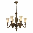 ELK Allesandria Collection 6 Light Chandelier in Burnt Bronze and Weathered Gold Leaf- Led EK-11540-6-LED