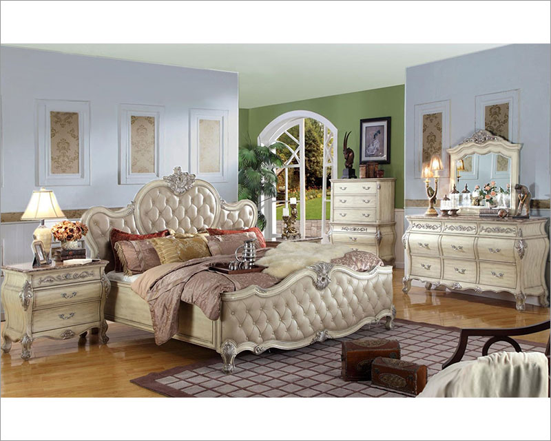 Antique white bedroom set mcfb8301set - White vintage bedroom furniture sets ...