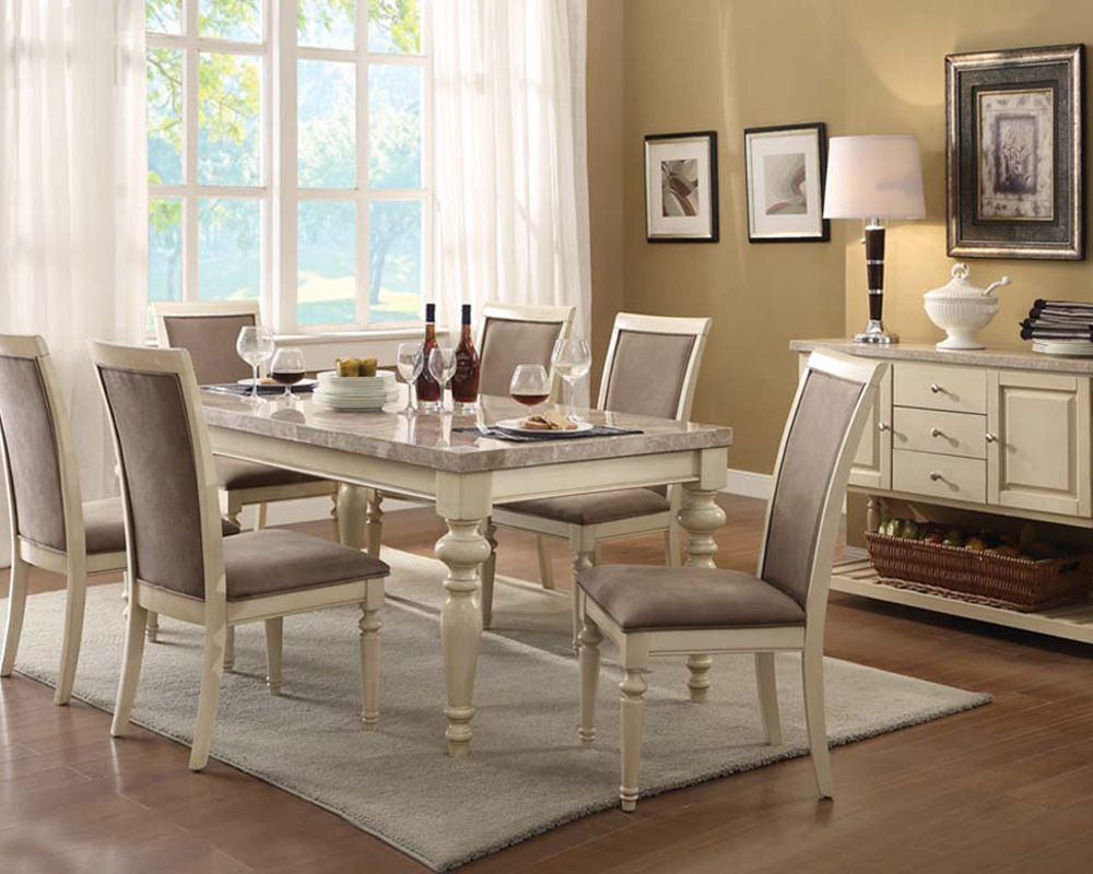 Antique white dining set ryder by acme furniture ac71705set for Antique dining room furniture