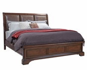 Aspenhome Bed w/ Bonded Leather Headboard Bancroft ASI08-422BED