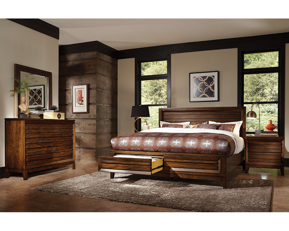 walnut bedroom set aspenhome bedroom set w panel storage bed walnut park 13786
