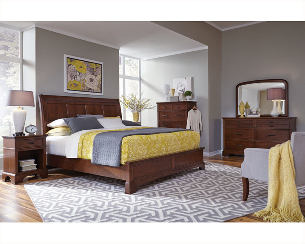 Aspenhome bedroom w sleigh bed cherry forge asi12 400set for Bedroom designs with sleigh beds