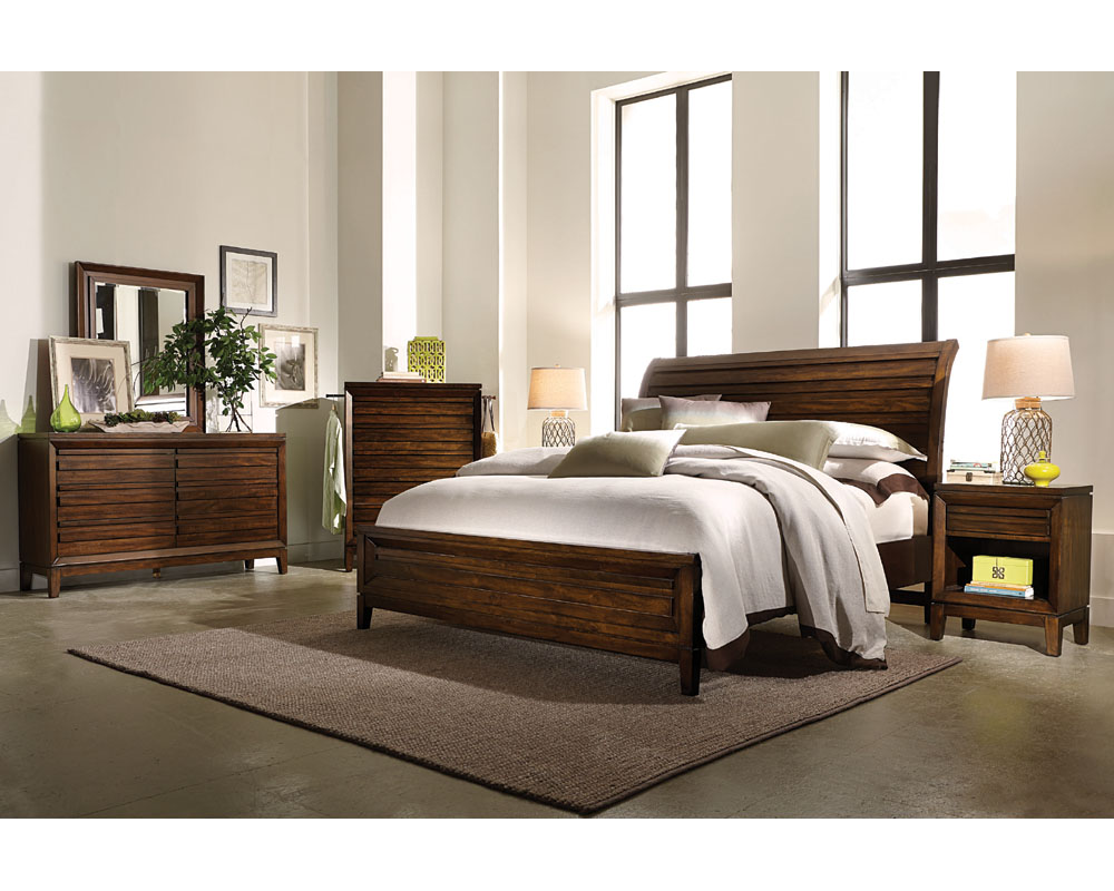Aspenhome Bedroom Set W Sleigh Bed Walnut Park Asi05 400set