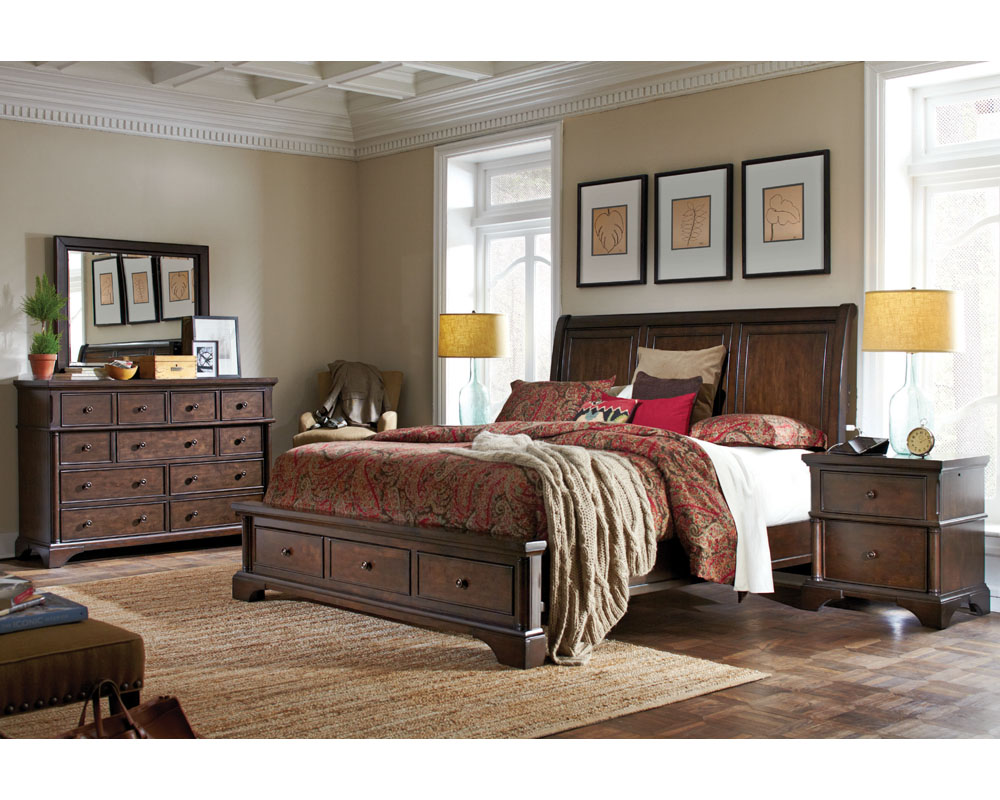 Aspenhome Bedroom Set W Sleigh Storage Bed Bancroft Asi08 400sset