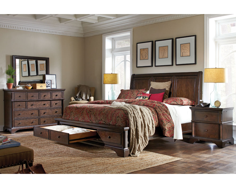Aspenhome bedroom set w sleigh storage bed bancroft asi08 400sset Aspen home bedroom furniture prices