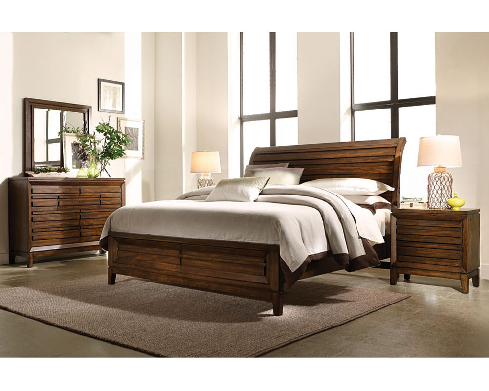 Aspenhome Bedroom Set W Sleigh Storage Bed Walnut Park Asi05 400sset