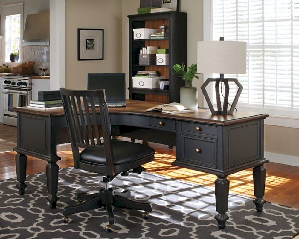 . Aspenhome E2 72in Curved Half Pedestal Desk Ravenwood ASI65 372