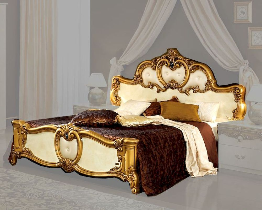 Bed gold baroque classic style made in italy 33b422 for Baroque style bed