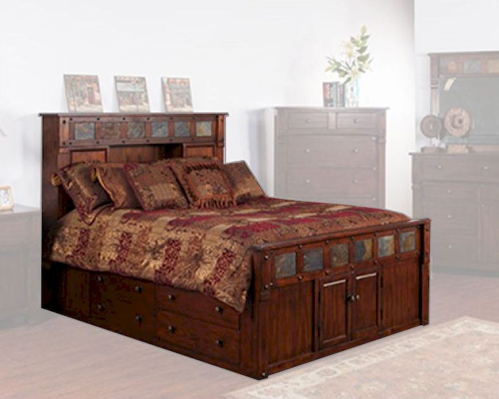 Bed W/ Storage Headboard Santa Fe By Sunny Designs SU 2322DC S