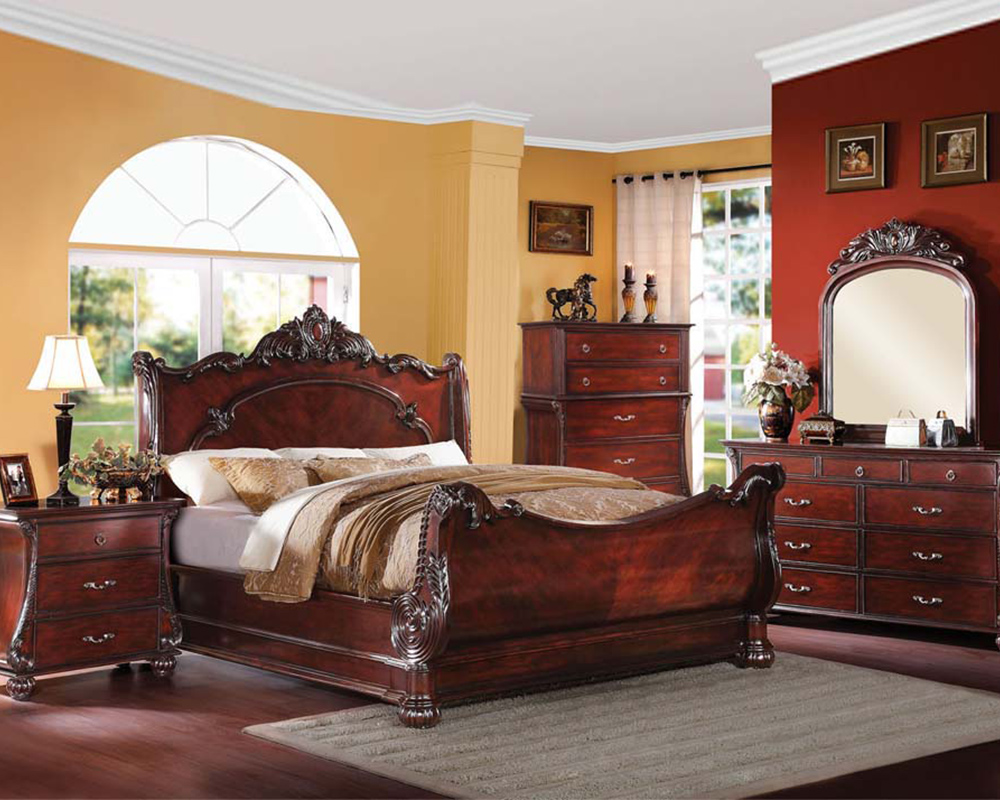 bedroom set in cherry finish abramson by acme furniture ac22360set