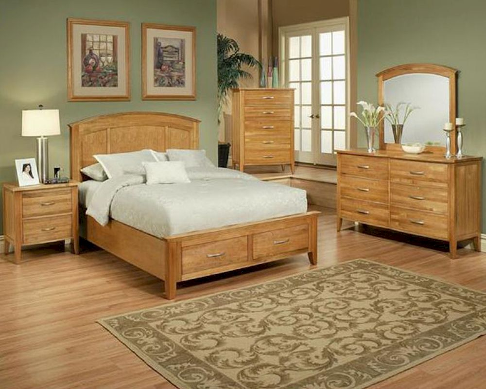 Bedroom Set in Light Oak Finish Firefly County by Ayca AY-22 ...