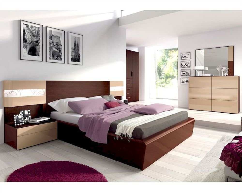 Bedroom set mario modern style made in spain 33b381 for Bedroom furniture spain