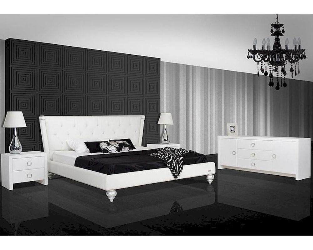 Bedroom Set W Transitional White Leatherette Bed 44b141set