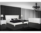Bedroom Set w/ Transitional White Leatherette Bed 44B141SET