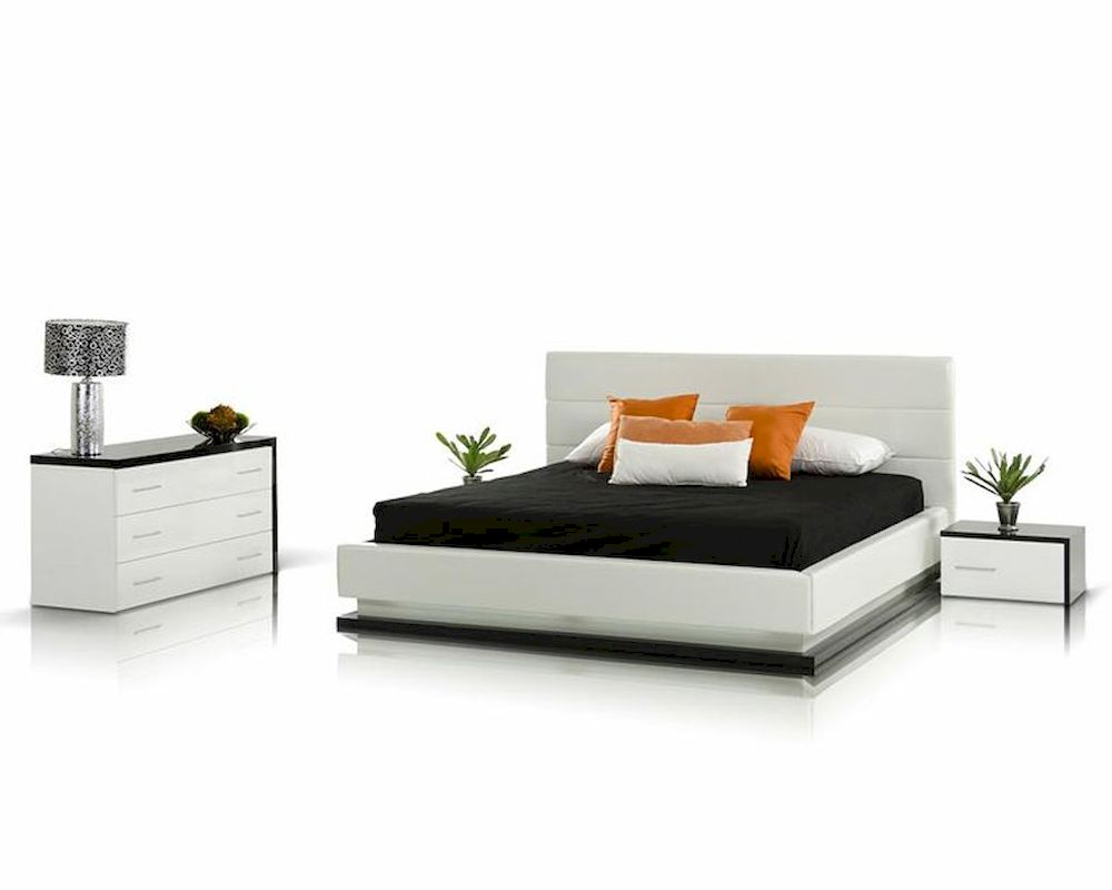 Bedroom Set With Platform Bed W Lights Contemporary Style 44b197set