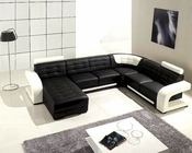 Black and White Leather Modern Sectional Sofa Set 44LT139