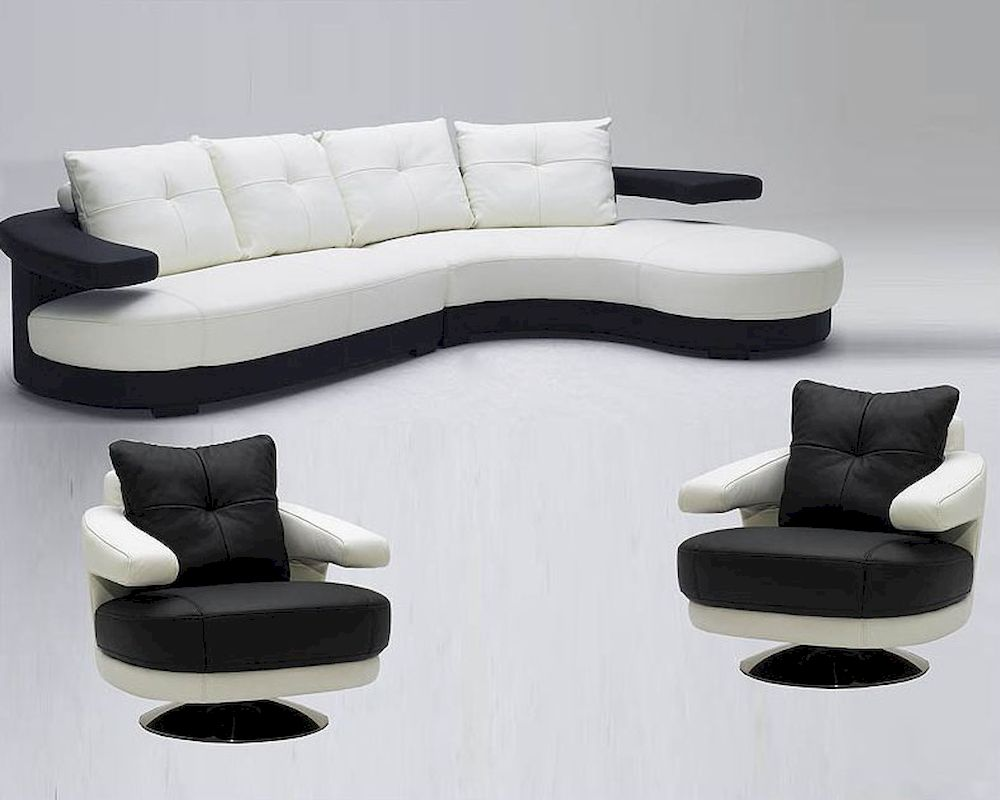 Black And White Ultra Modern Full Leather Sectional Sofa