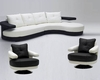 Black and White Ultra Modern Full Leather Sectional Sofa Set 44L899
