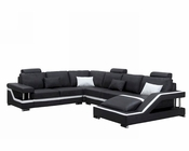 Black Bonded Leather Sectional Sofa in Contemporary Style 44L6003
