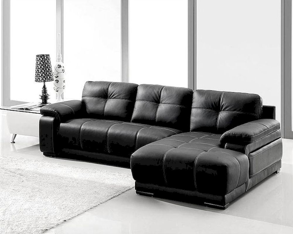 Black bonded leather sectional sofa set 44l2972s for Black couch set