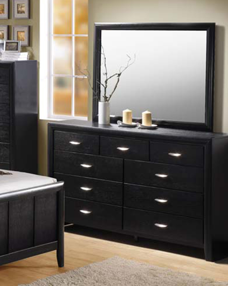 Contemporary Bedroom Set London Black By Acme Furniture: Black Dresser W/ Mirror Hailee By Acme AC21475DM