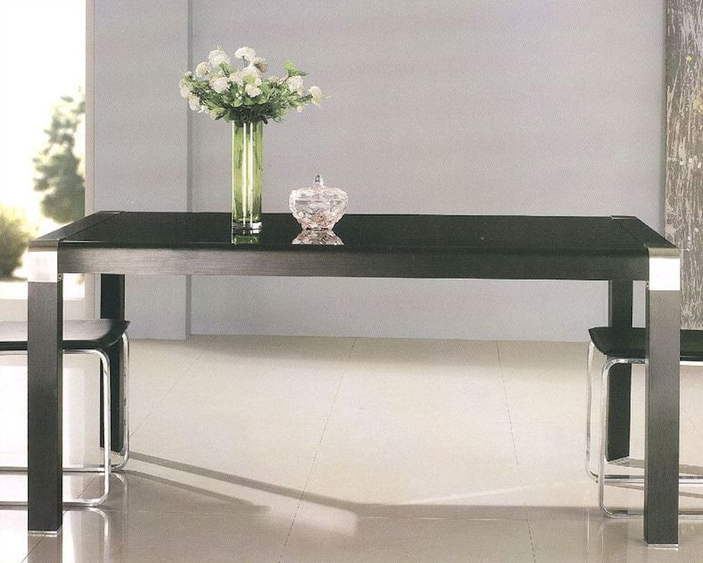 Black glass top dining table ol dt02 for Black glass dining table