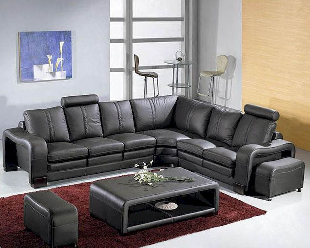Black leather modern sectional sofa set 44l3330bl for Leather sofa set