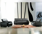 Black Leather Sofa Set Bella Italia 44L171-6