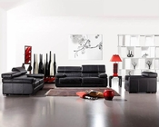 Black Leather Sofa Set Bella Italia 44L381