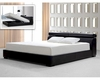 Black Leatherette Bed w/ Storage in Contemporary Style 44B188BD
