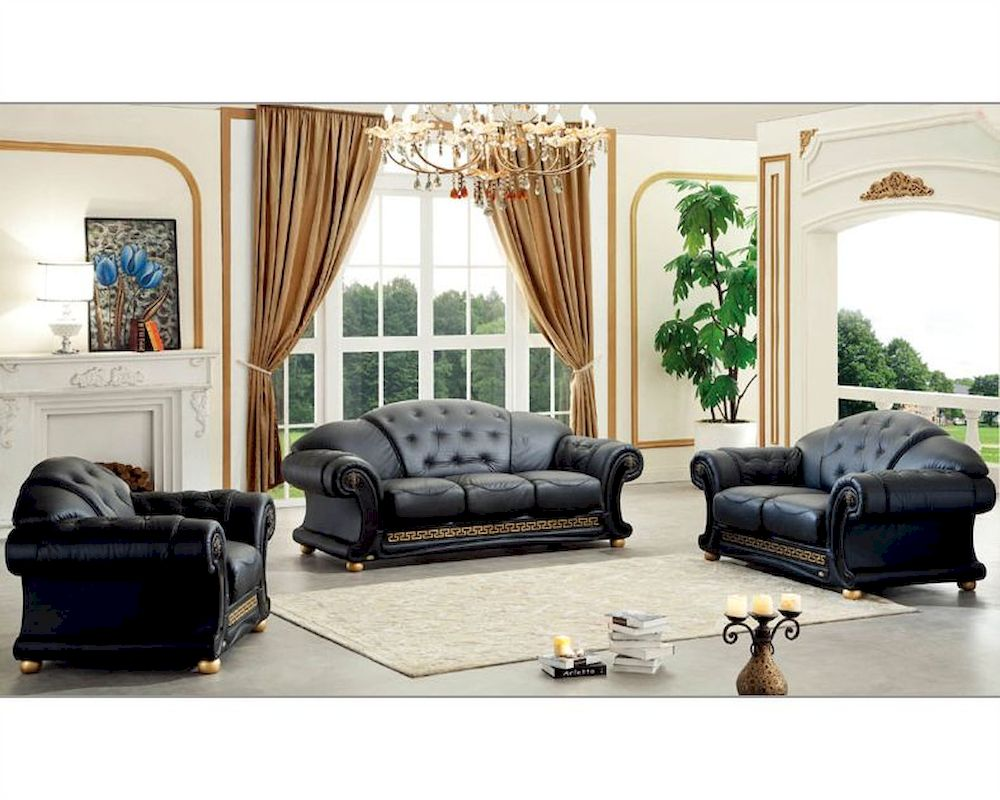 Black living room set in classic style versace esfveset for Black living room set