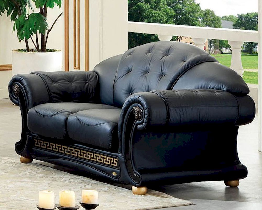 Black loveseat in classic style versace esfvel Versace sofa