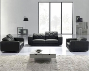 Black Modern 3pc Leather Sofa Set 44LT123