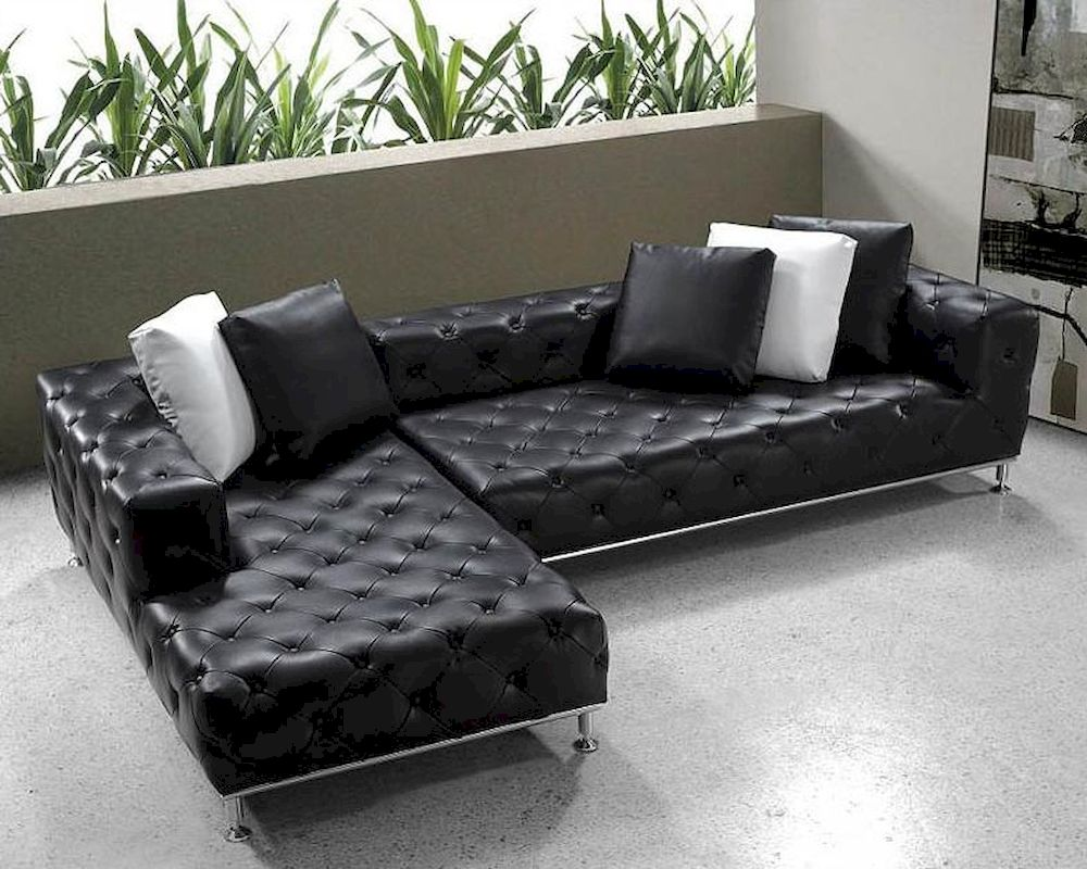 Black modern tufted leather sectional sofa set 44l0687 for Tufted couch set