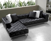 Black Modern Tufted Leather Sectional Sofa Set 44L0687