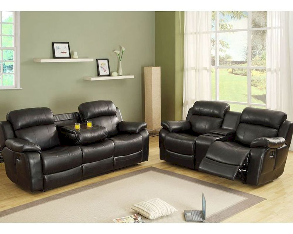 Black Reclining Sofa Set Marille by Homelegance EL-9724BLK-SET : black leather recliner sofa set - islam-shia.org