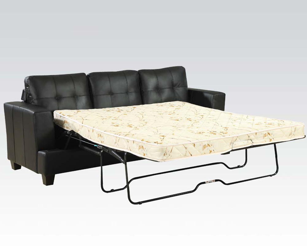 Black Sofa W Queen Sleeper Platinum By Acme Furniture