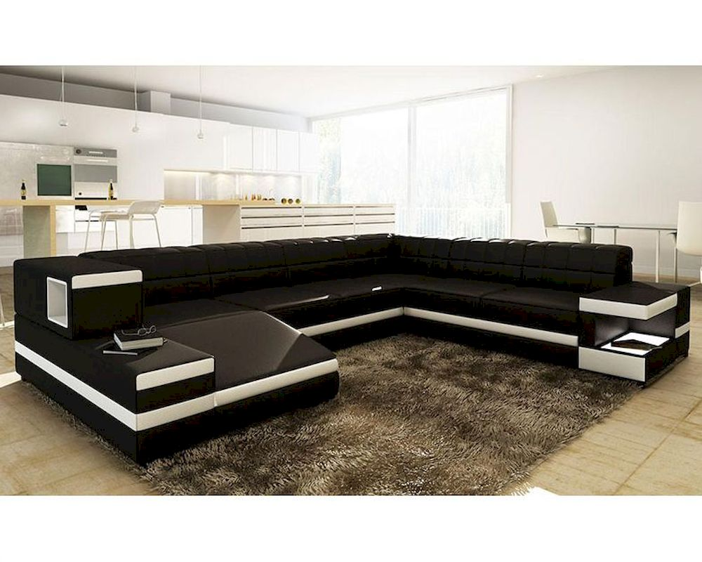 Black/ White Bonded Leather Sectional Sofa in Modern Style 44L6110