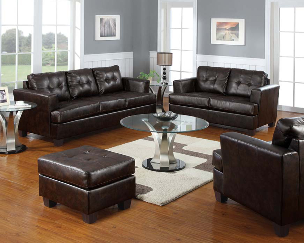 Bonded leather sofa set platinum by acme furniture for Leather sofa set