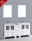 Bosconi White 72in Double Integrated Sink Vanity BOAW230U1S