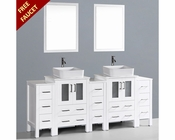 Bosconi White 84in Double Rectangular Vessel Sink Vanity BOAW224RC3S