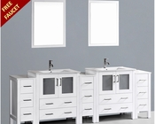 Bosconi White 96in Double Integrated Sink Vanity BOAW230U3S