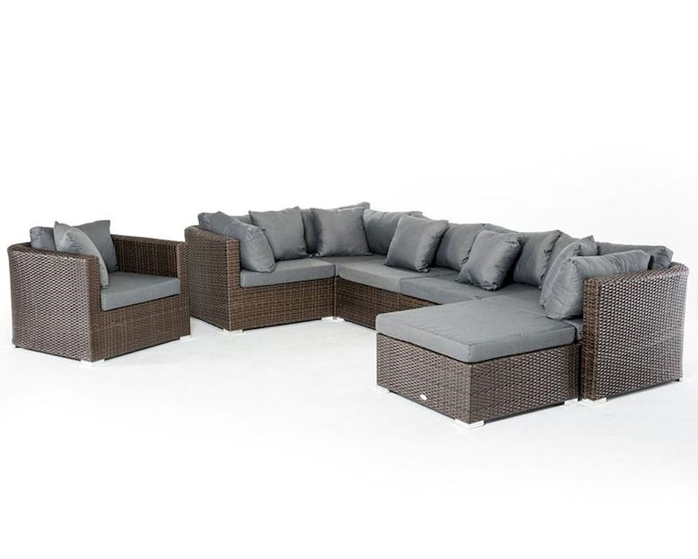 brown and grey outdoor sectional sofa set 44p202 set. Black Bedroom Furniture Sets. Home Design Ideas