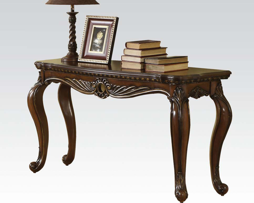 Brown cherry sofa table remington by acme furniture ac80066 for Sofa table cherry