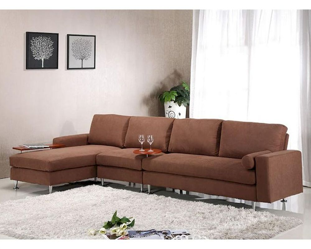 Brown Fabric Sectional Sofa w Ottoman in