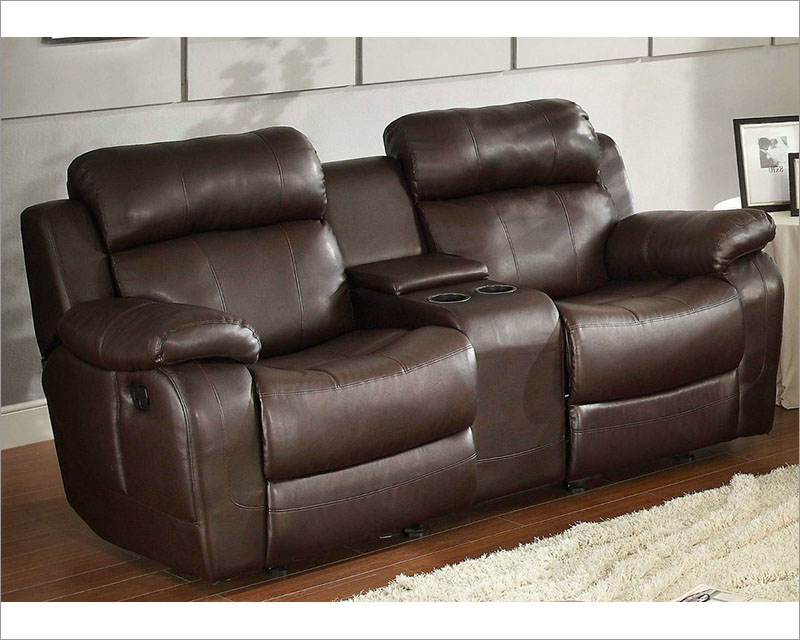Brown Finish Double Glider Reclining Loveseat Marille By Homelegance El 9724brw 2